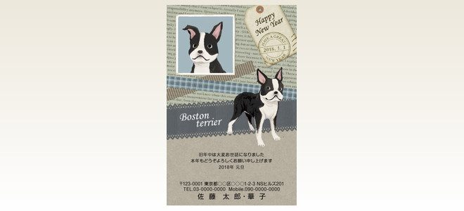 ネットスクウェア犬種別年賀状ボストンテリア