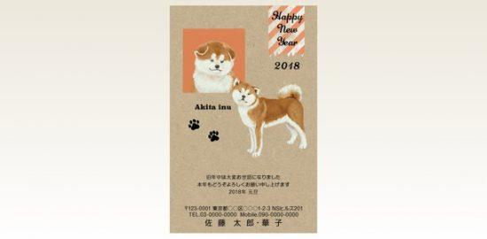ネットスクウェア犬種別年賀状秋田犬