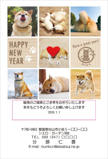 2018年柴犬まるデザイン年賀状印刷-6